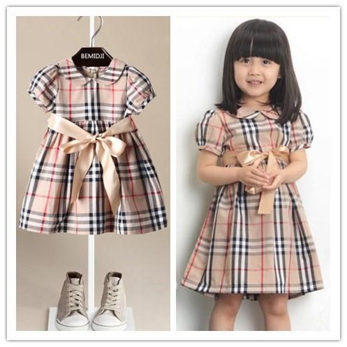 Foreign girls dress new style British style big Scottish plaid polo doll(China (Mainland))