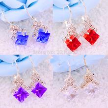 Ladies Princess Black Sapphire Drop Dangle Silver Earrings Womens Jewellry Gift
