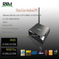 RKM MK80 Plus Octa core 4G RAM, 32G ROM Dual band 2.4G/5G WiFi 802.11ac SATA USB3.0  ARM Cortex A15/CortexA7 Allwinner A80