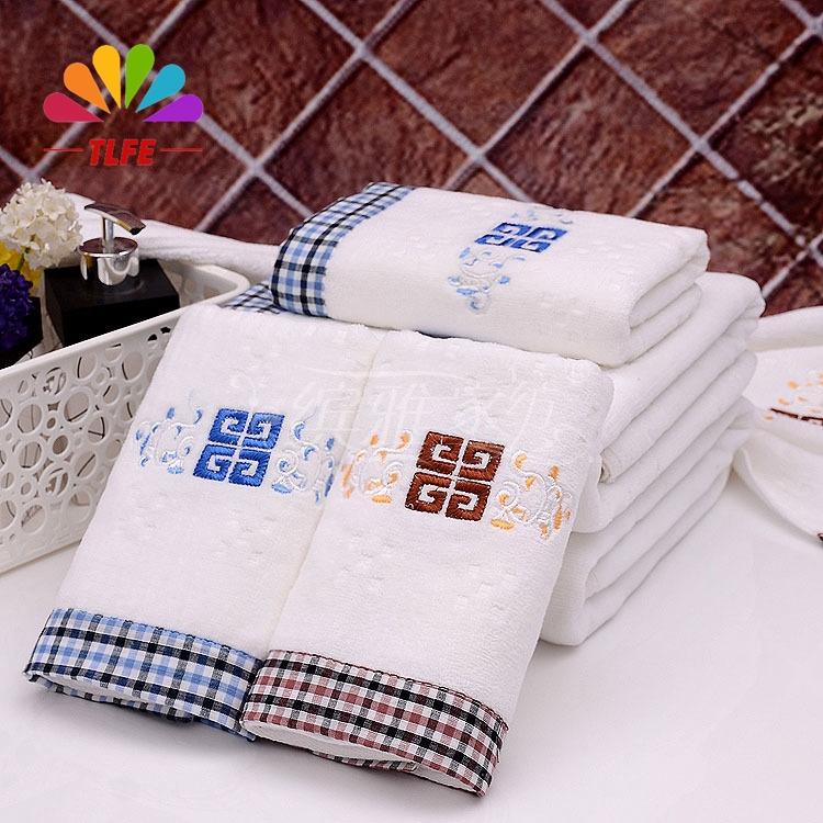 TLFE Towel 100% cotton soft beach towel bulk cheap brand towels 2015 new 4pcs lot 34*75cm solid face Fiber towels set FT022(China (Mainland))
