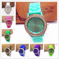 Watch Silicone Geneva silica gel jelly diamond quartz watches fashion military women sports luxury relogio reloj montre homme