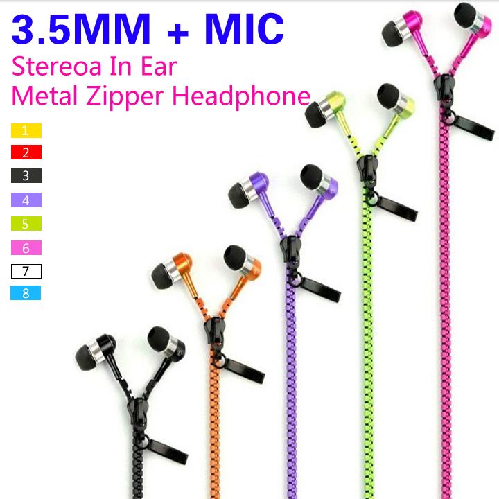 Высокое качество стерео бас наушники наушники в ухо металлические молнии гарнитура с микрофоном 3.5 мм для iPhone Samsung Xiaomi MP3
