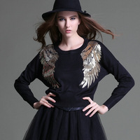 Fashion Vintage Angel Wings Sequined Pullover Women Knitted Sweater Spring Autumn Short Design Paillette Casual Chic Sweaters