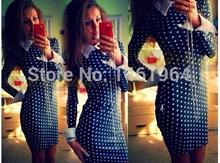 Dresses Real New Design 2015 Spring European Women Long-sleeved Fashion Sexy Slim Polka Dot Dress Elegant Party Bodycon Vestido(China (Mainland))