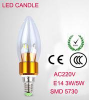 SMD5730 E14  3W 5W 220V LED White/Warm white High Power LED Bulb Lamp Candle Light Energy Saving gold B1