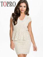 Topro Elegant Lace Peplum Formal 2015 New Design Women Work Wear Office Dress High Street Pencil Casual Dress HW0171