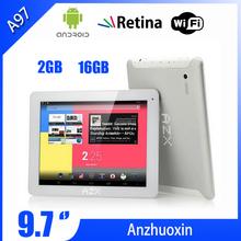 De calidad superior 2048 * 1536 2GB AZX A97 1.8GHz 32GB / 16GB RK3188 Quad Core WiFi Marca Tablet 9,7 pulgadas con pantalla Retina envío gratuito(China (Mainland))