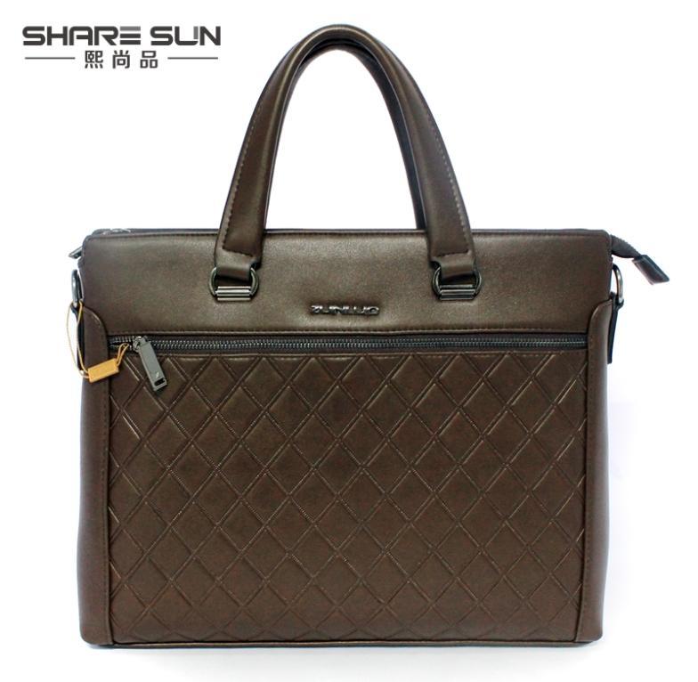 Hot Sale Genuine Leather Men Laptop Briefcase Men Bags Briefcase Handbag Men Shoulder Bag Men Office Bag Free Shipping 6672-3(China (Mainland))