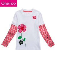 OneToo Brand 100% Cotton Girls tees Tops Children T-shirt Baby Girl Long sleeve t shirts Cartoon Blouse Flower Cute Quality