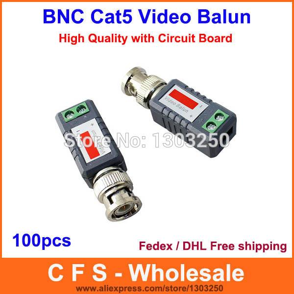 Video balun BNC cat5 COAX CAT5 Camera CCTV BNC Passive Video Balun Transceiver Cable/Coaxial Adapter Free Shipping 100pcs(China (Mainland))