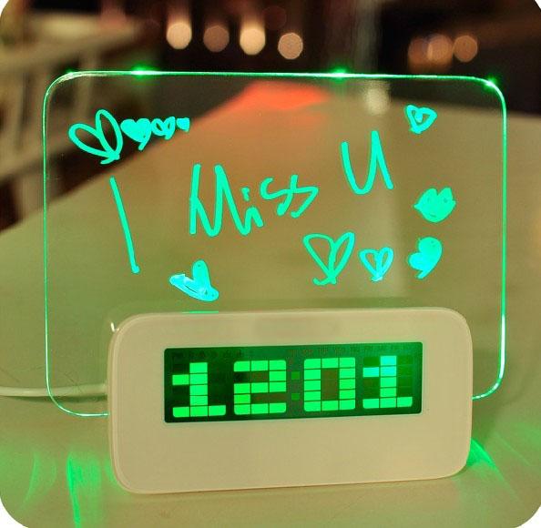 Free Shipping New Hot Blue LED Fluorescent Message Board Digital Alarm Clock Calendar Night blue/green/pink light(China (Mainland))