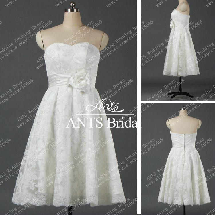 New design short strapless mid length wedding dress lace for Mid length dresses for wedding guests