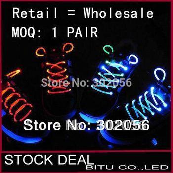 10pcs/lot(5 pair) 2011 Best Price Shining Brignt LED Shoelace(without battery) LD001p