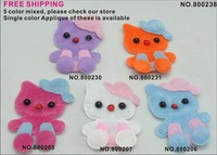 WHOLESALE 5 colors Padded Furry Velvet kitty cat Appliques Hair bow 500pcs/lot
