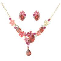 Neoglory Jewelry Set cloisonne red AAAA cubic zirconia Necklace Stud Earrings Brand Wedding Jewelry Rihood NJ-746 flower cluster