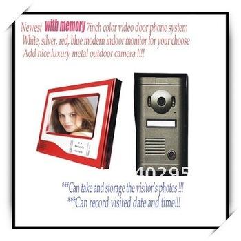 With memory new video door phone + free dropshipping & video 7inch color intercom system/ door bells/ door phone