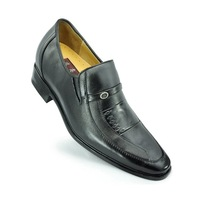 4025-black Leather pointed toe dress formal height elevator shoes for men gain you 2.75 inches height