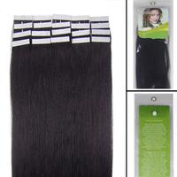 "16""18""20""22""24"" Remy Tape Human Hair Extensions #1B, 30g & 20pcs"