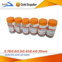 Scotle 0.76/0.6/0.5/0.45/0.4/0.35mm 6 bottles /  set BGA solder ball leaded (25,000Pcs/Bottle) For BGA Rework Repair