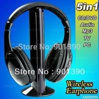 Wireless Earphone Headphone headset 5 in 1 for MP3 PC TV CD - 1pcs/lot Wireless Earphone cordless mp3 mp4 earphone