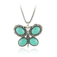 Europe Hot Sell Butterfly Pendants Necklaces Turquoise Jewellery