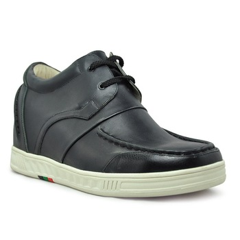 9091 - Black Leather leisure shoes-grow taller 7.0CM-handmade with genuine leather