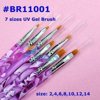 7 pcs Professional Flat UV Gel Brush Nail Art Painting Draw Brush Nail Art Pen Tools Nail Gel Brushes SKU:G0034