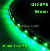 Free Shipping + 12V Car Flexiable Waterproof Strip Light + Wholesale + 10pcs/lot + 1210 3528 30cm 15 SMD LED strip green color