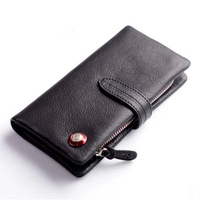 Wome's long leather wallet, 100% leather purse, with red stud rivet,clasp,clutch, coin pouch,YKK zipper,[Fashion Depot]