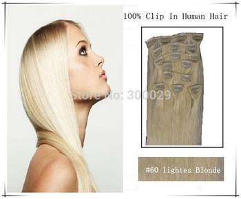 "15"" 18"" 20"" 22"" 26"" 100g Virgin Remy Hair Clip In Human Hair Extensions 8Pcs/Full Head Set Color #60 Platinum blonde"