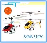 Supernova Sales Free Shipping - Syma S107G Metal Gyro 3ch R/C Mini Micro RTF rc Helicopter 3 Channel / flash lights usb charger