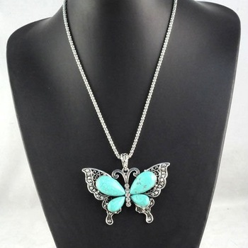 jewelry ,  butterfly pendant necklace ,tear-turquoise necklace,  fashion pendant necklaces,nl-1209