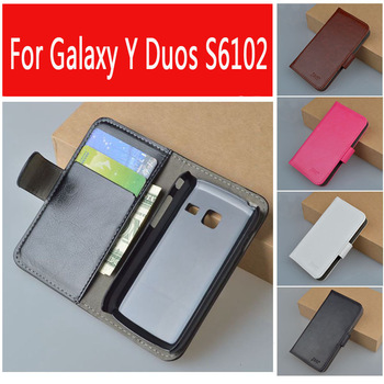 J&R Brand Leather Case for Samsung Galaxy Y Duos S6102 Cover with Wallet and Bank Card Holder 9 Colors in Stock