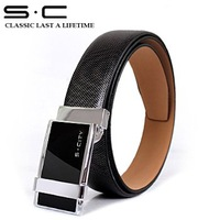 SC Promotion! 100% Real Leather Belts black color  men's leather belts wholesale&retail free shipping PY0020-3-HZY