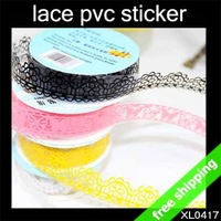 FREE SHIPPING Lace Tape Wedding Sticker Diary Fashion Gift Self-adhesive PVC Novel 1.8cm (width)x1m 36Rolls/lot say hi 0417S