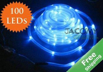 Solar LED string lights+ Tube String Light+Solar powered+Waterproof +100 Blue LED bulbs