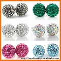 6 Mixed Lot Fashion 925 Sterling Silver Round Ball Pave Bead Crystal Stud Shamballa Earrings