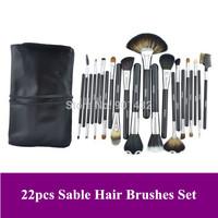 Top Quality 22 pcs Black Sable Hair Makeup Brush Kit Make Up Brushes Set Cosmetic Facial Brush with PU Case, Free shipping