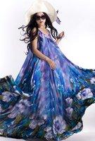 SD08-1 Women's high quality chiffon flower print long dress evening dress