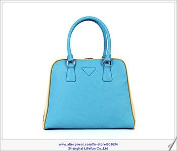 2014 new women GENUINE REAL LEATHER totes shoulder boston bag handbags black red blue yellow  LF06297