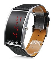Fashionable men's luxury brand Watches,Elegant PU Leather Band Red LED Wrist Watch,digital LED Watch For Boys,Free shipping