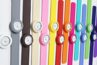 100pcs/lot free shipping High Quality silicone slap watch, kids slap watch children watches 16 kinds of color opp bag packaging