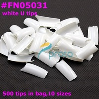 FREESHIPPING 500 Well Less White French Nail Art U tips False Nail Tips,high quality [retail] SKU:A0016
