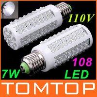 Ultra Bright 6000-6500k E27 7W 110V 108 LED Light Bulb Corn light LED Lamp Drop shipping free shipping