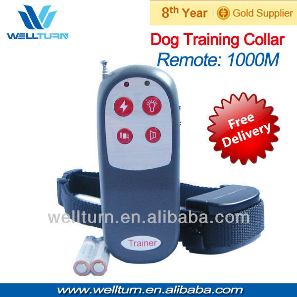 10pcs/lot 4 in1 vibration+static+3 level whistle+led Remote control dog training collar ,dog accessory-1000m(China (Mainland))