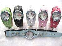 For Ladies/women/Girl Leather band Watch Wristwatch fashion Quartz HELLO KITTY WATCH 10pcs