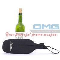 Free Shipping!Custom Imprint Neoprene Zipper Up Wine Champagne Bottle Tote ,Wine Bottle Cooler Bag,Wine Holder, Bottle Insulator