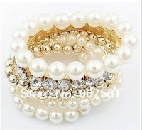 Free Shipping Fashion Gold Plated Metallic Clear Rhinestone Big Pearls Bracelet Multilayers Costume Wrist Bangle Bracelet