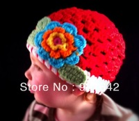 1PC Retail Toddler/Girls Crochet Hat - Red with a three-layer flower in turquoise-orange-yellow/green Free Shipping