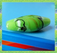Free shipping,Olive shape coloured glaze beads wholesale,9*26mm,green flowers beads,40pieces/lot.